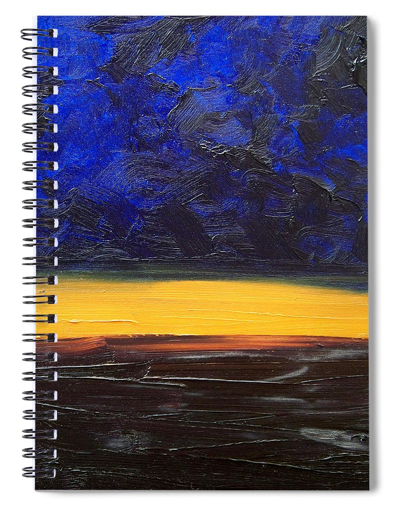 Landscape Spiral Notebook featuring the painting Desert plains by Sergey Bezhinets