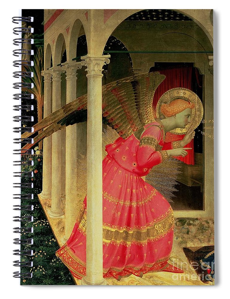 Arcade Spiral Notebook featuring the painting Detail From The Annunciation Showing The Angel Gabriel by Fra Angelico