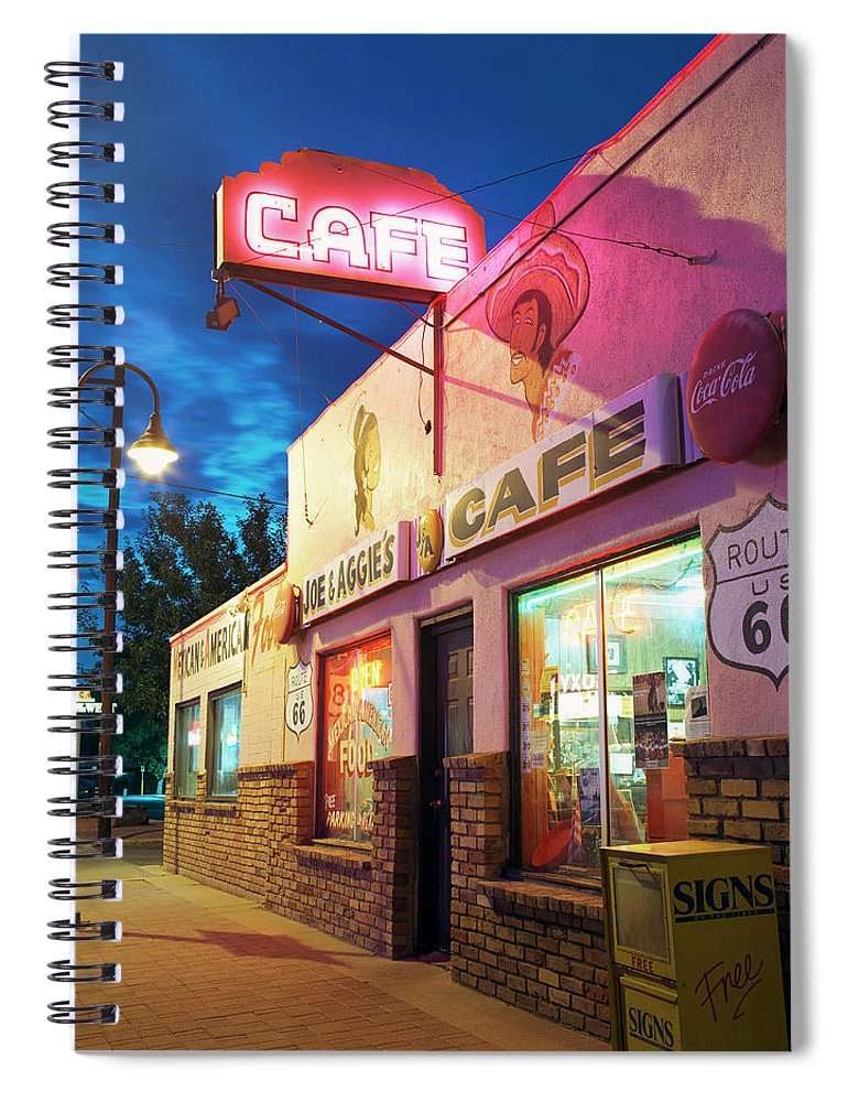 Shadow Spiral Notebook featuring the photograph Diner Along Route 66 At Dusk by Gary Yeowell