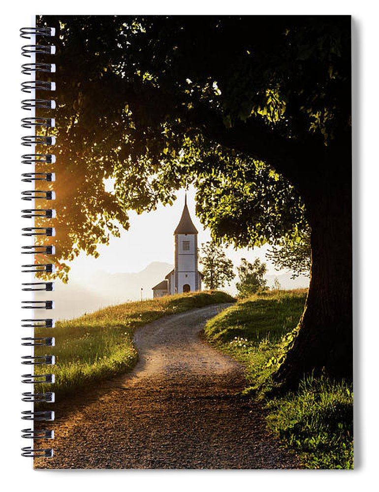 Tranquility Spiral Notebook featuring the photograph Dirt Road Leading To Remote Hilltop by Pixelchrome Inc