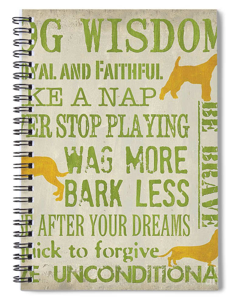 Dog Spiral Notebook featuring the painting Dog Wisdom by Debbie DeWitt