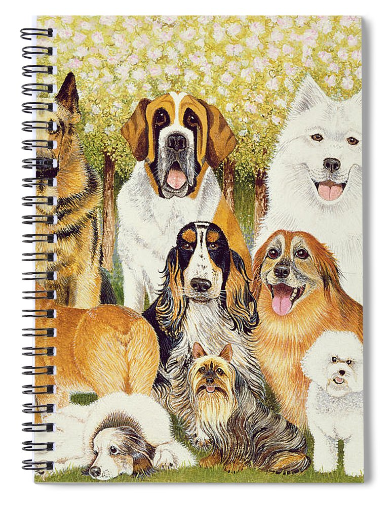 Dog Spiral Notebook featuring the painting Dogs In May by Pat Scott