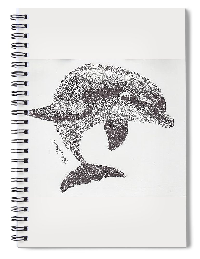 Dolphin Swimming Spiral Notebook featuring the drawing Dolphin by Michael Volpicelli