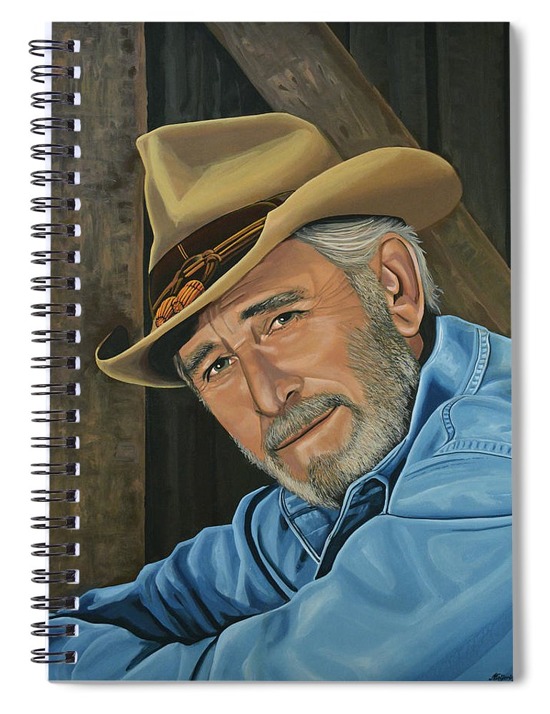 Don Williams Spiral Notebook featuring the painting Don Williams Painting by Paul Meijering