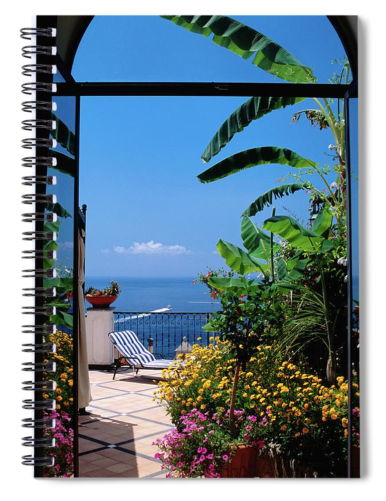 Tranquility Spiral Notebook featuring the photograph Doorway To Terrace At Hotel Punta by Dallas Stribley