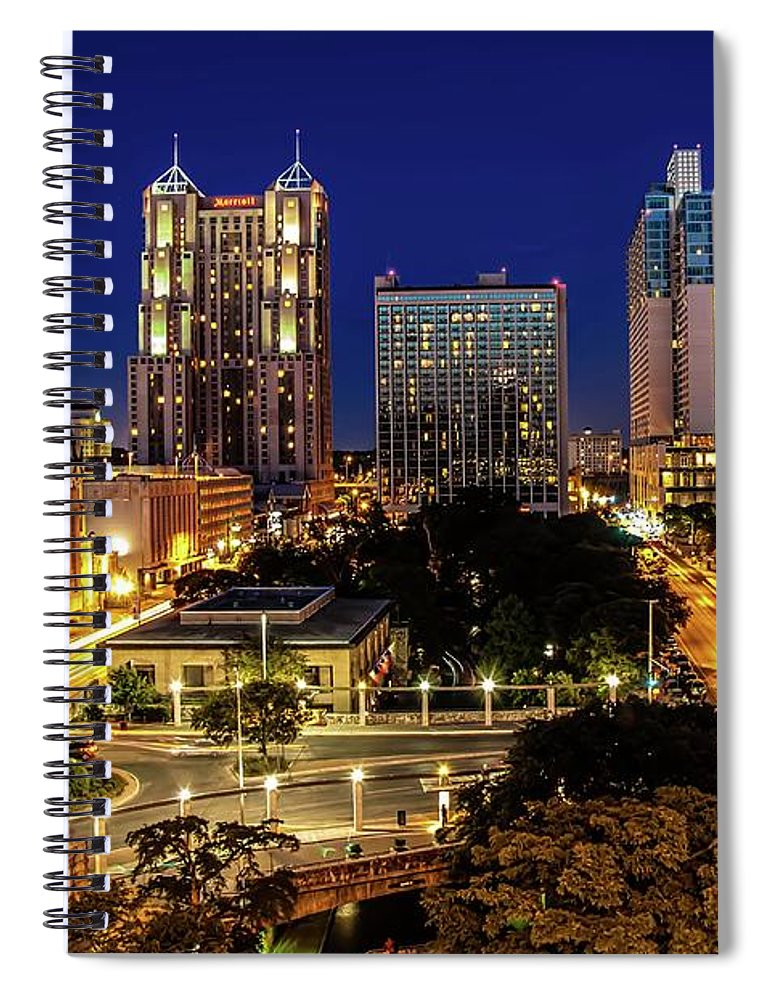 Downtown District Spiral Notebook featuring the photograph Downtown San Antonio by John Cabuena Flipintex Fotod