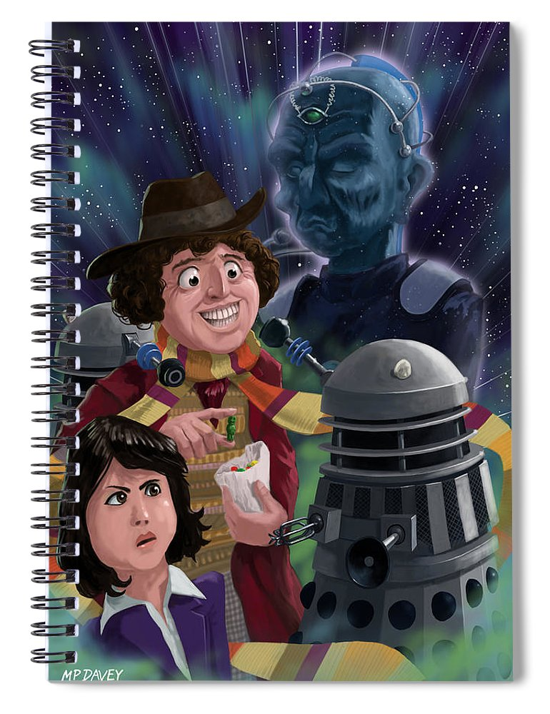 Dr Who Spiral Notebook featuring the digital art Dr Who 4th Doctor Jelly Baby by Martin Davey