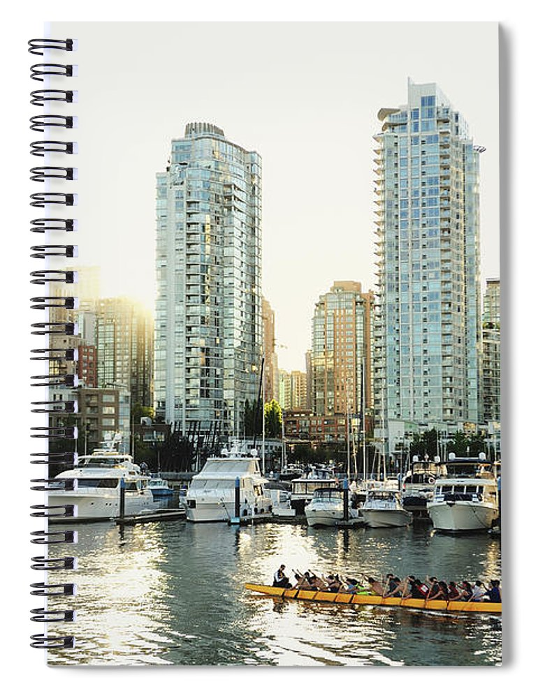 Tranquility Spiral Notebook featuring the photograph Dragon Boating In Vancouver by Carlina Teteris