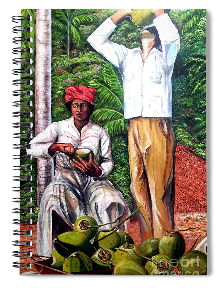 Coconut Spiral Notebook featuring the painting Drinking coconut water by Jose Manuel Abraham