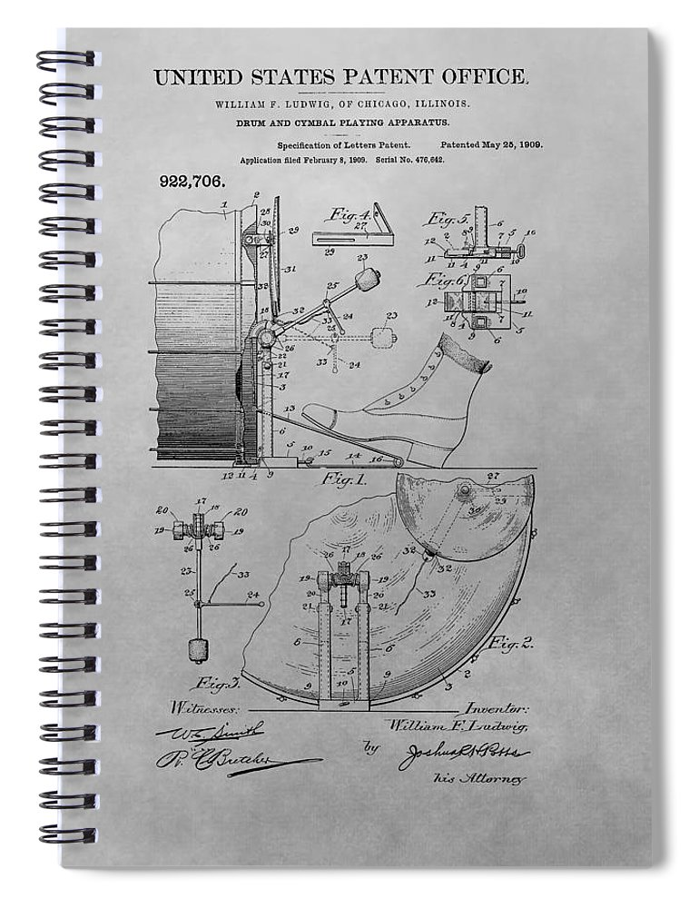 1909 Drum Patent Spiral Notebook featuring the drawing Drum And Cymbal Playing Apparatus by Dan Sproul