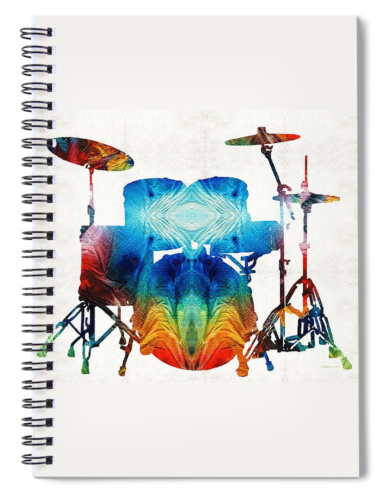 Drum Spiral Notebook featuring the painting Drum Set Art - Color Fusion Drums - By Sharon Cummings by Sharon Cummings