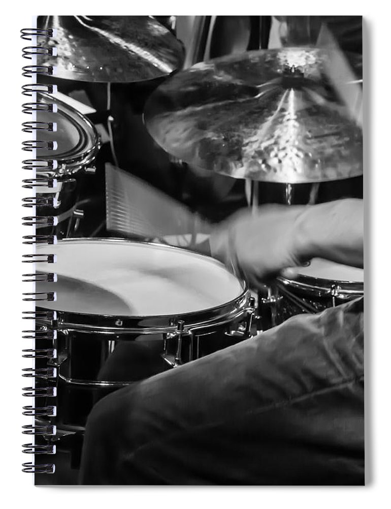Drum Set Spiral Notebook featuring the photograph Drummer at work by Photographic Arts And Design Studio