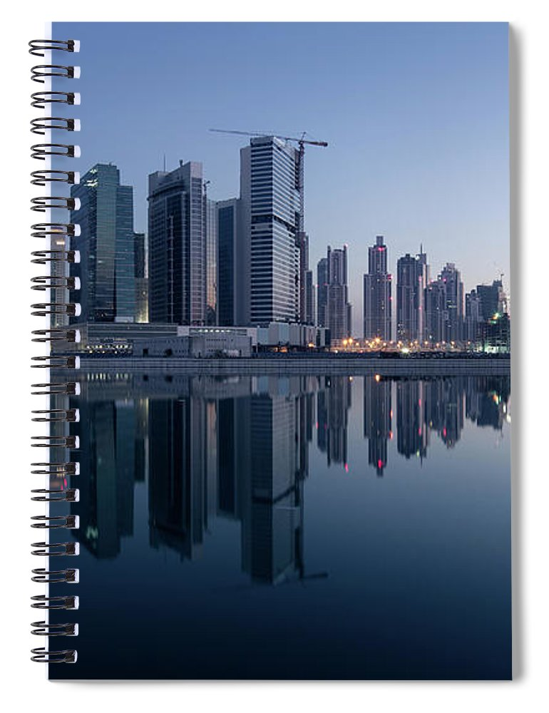 Tranquility Spiral Notebook featuring the photograph Dubai Business Bay Skyline With by Spreephoto.de