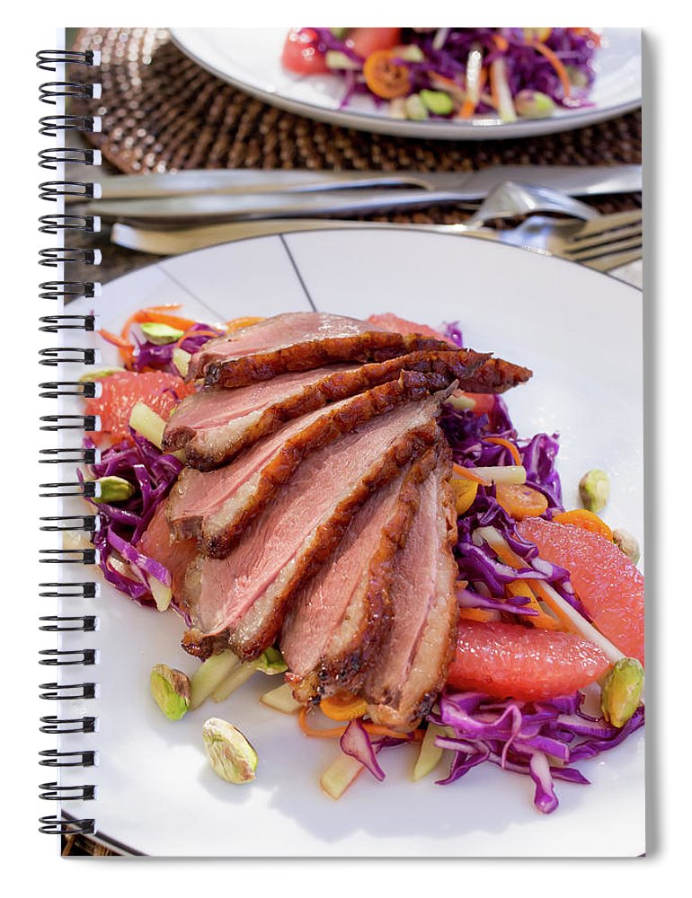 Kitchen Knife Spiral Notebook featuring the photograph Duck Breast With Red Cabbage Salad by Katya Lyukum