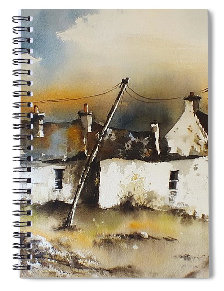 Val Byrne Spiral Notebook featuring the painting Dugort Panoptic Demo Video by Val Byrne