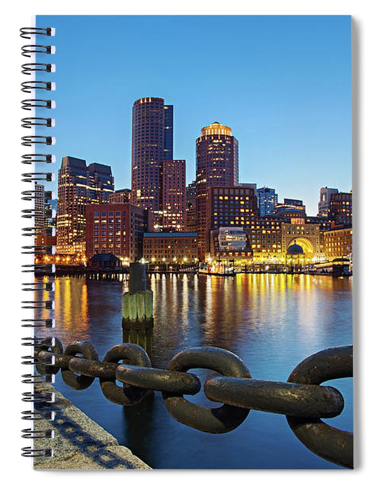 Clear Sky Spiral Notebook featuring the photograph Dusk In Boston by Photography By Nick Burwell