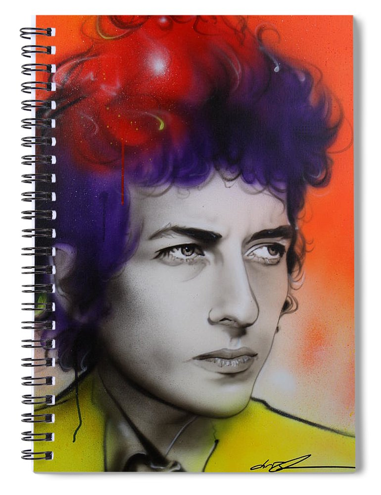 Bob Spiral Notebook featuring the painting Dylan by Christian Chapman Art
