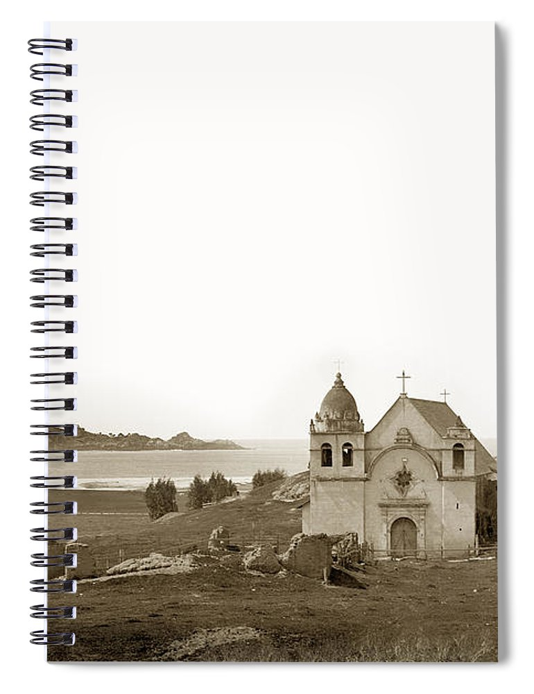 Carmel Spiral Notebook featuring the photograph Early Carmel Mission And Point Lobos California Circa 1884 by California Views Archives Mr Pat Hathaway Archives