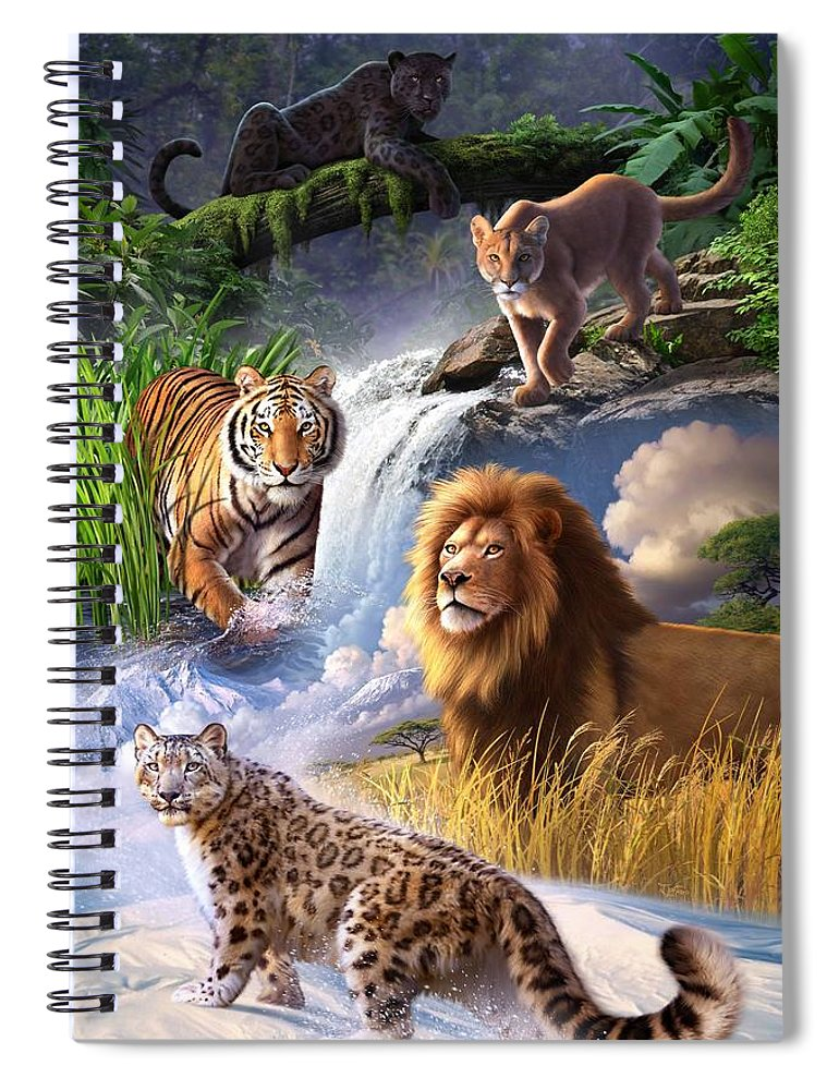 Big Cats Spiral Notebook featuring the digital art Earth Day 2013 poster by Jerry LoFaro