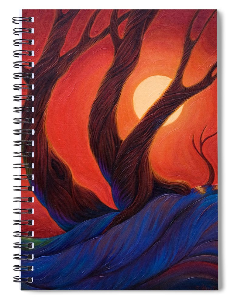 Trees Spiral Notebook featuring the painting Earth Wind Fire by Sandi Whetzel