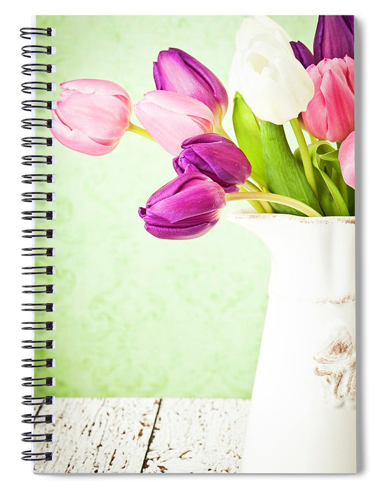 Mother's Day Spiral Notebook featuring the photograph Easter Tulips And Copy Space by Catlane
