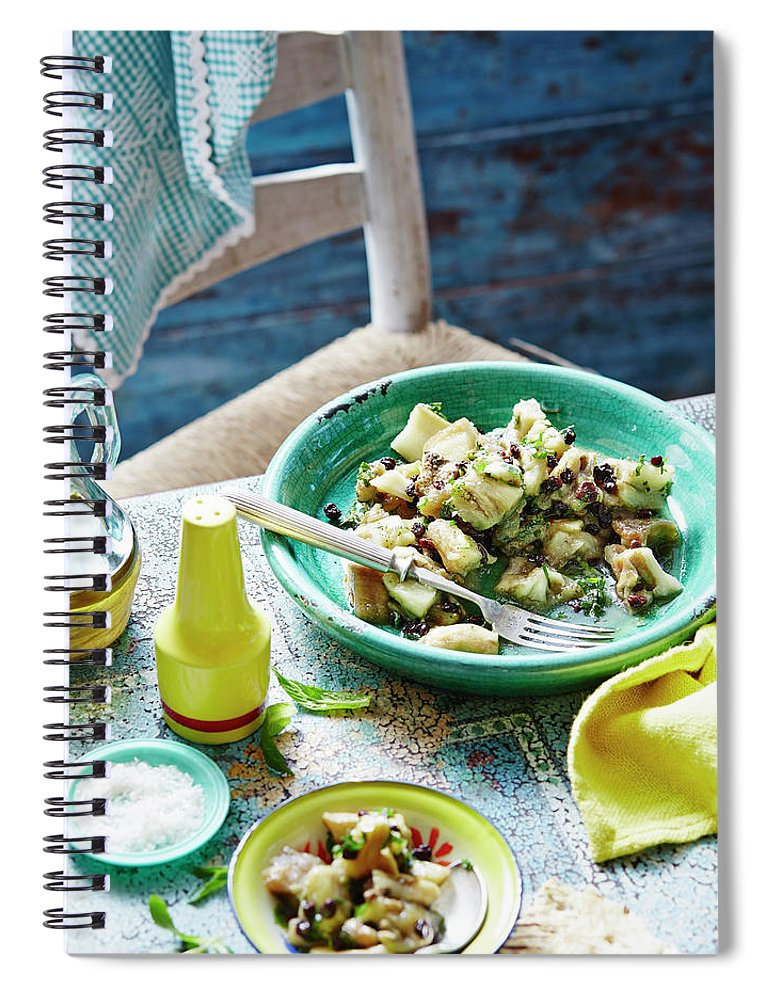 Temptation Spiral Notebook featuring the photograph Eggplant, Mint And Sultana Salad by Brett Stevens