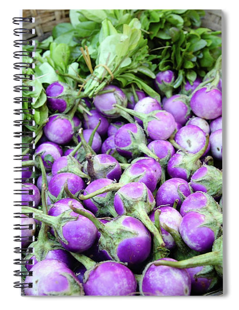 Purple Spiral Notebook featuring the photograph Eggplantbrinjals In Myanmar by Wu Swee Ong