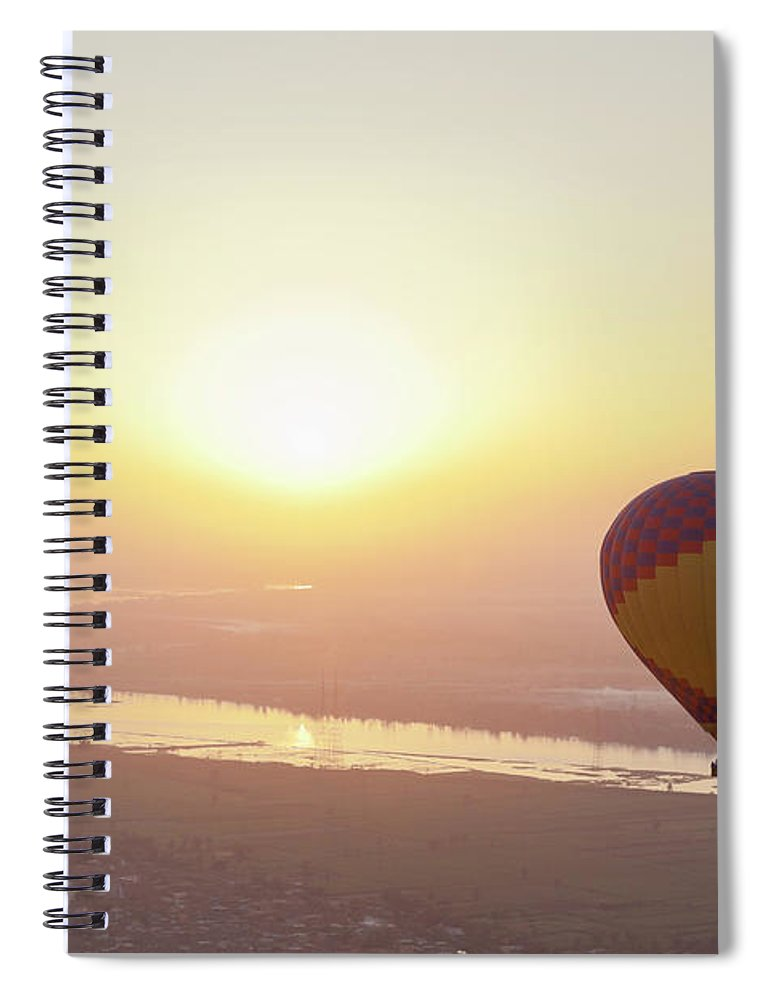 Luxor Spiral Notebook featuring the photograph Egypt, View Of Hot Air Balloon Over by Westend61
