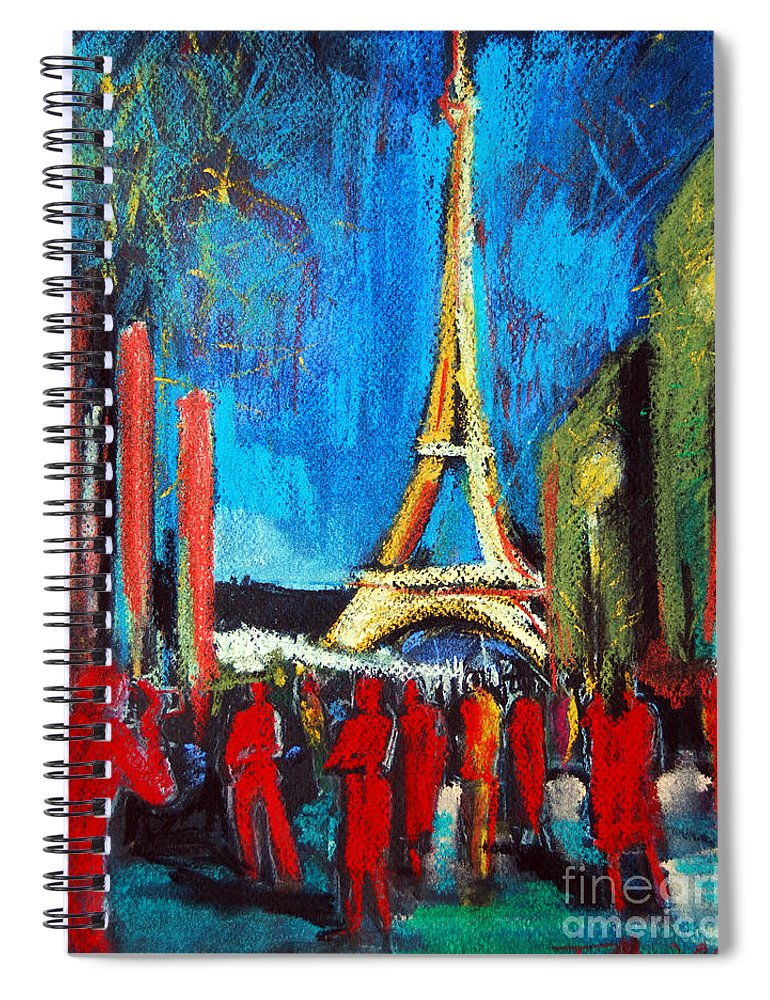 Eiffel Tower And The Red Visitors Spiral Notebook featuring the painting Eiffel Tower And The Red Visitors by Mona Edulesco