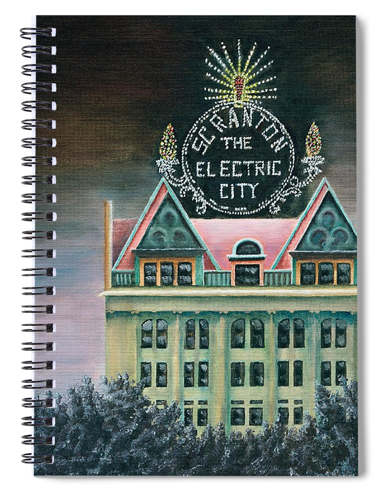 Scranton Spiral Notebook featuring the painting Electric City At Night by Austin Burke