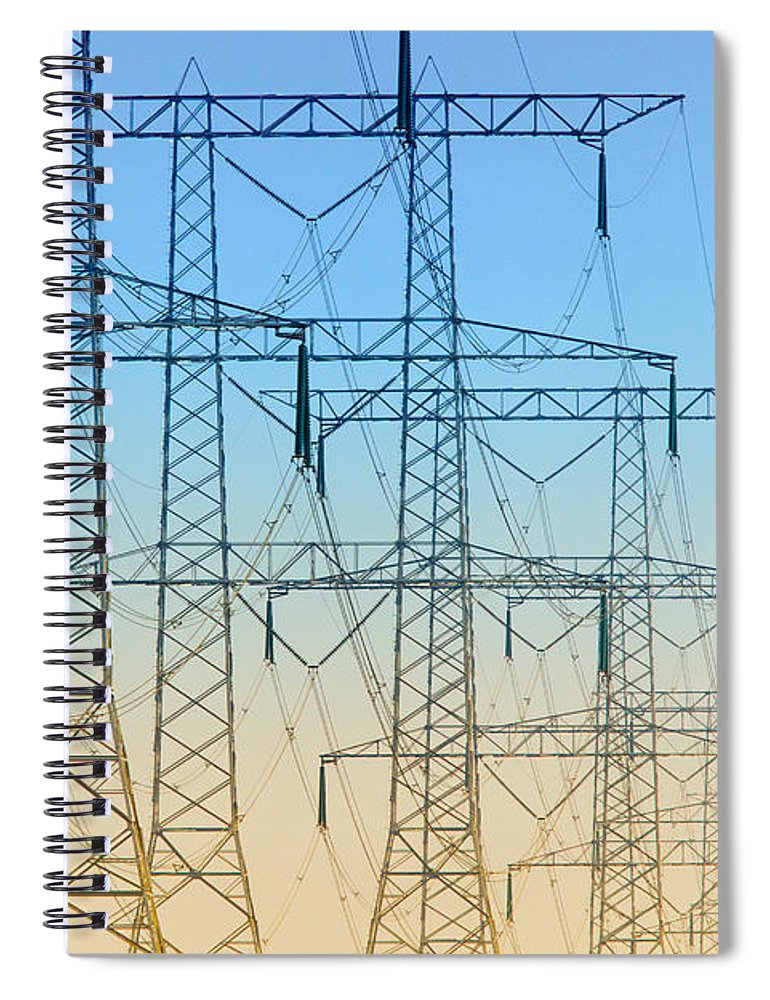 Electricity Spiral Notebook featuring the photograph Electricity Pylons Standing In A Row by Nick Biemans