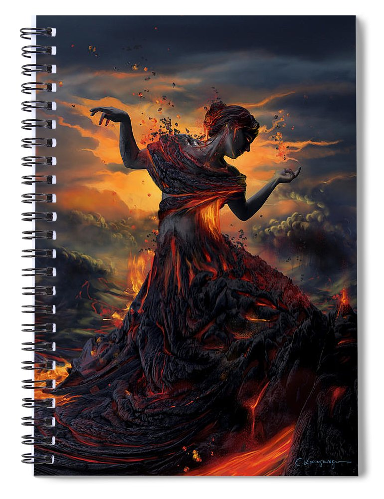 Fire Spiral Notebook featuring the digital art Elements - Fire by Cassiopeia Art