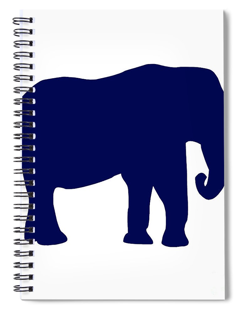 Graphic Art Spiral Notebook featuring the digital art Elephant In Navy And White by Jackie Farnsworth