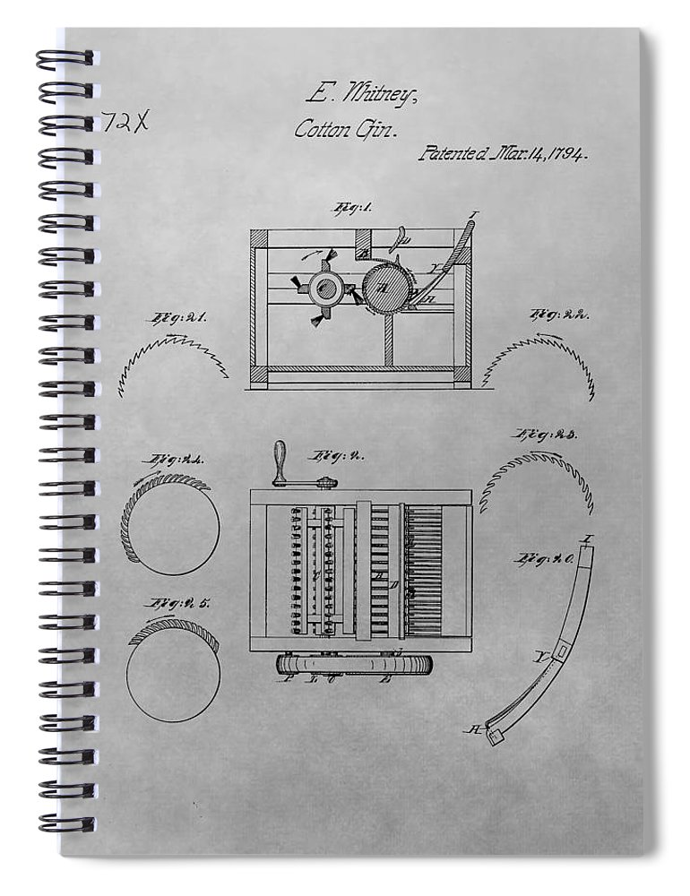 eli whitney cotton gin patent drawing spiral notebook for sale by