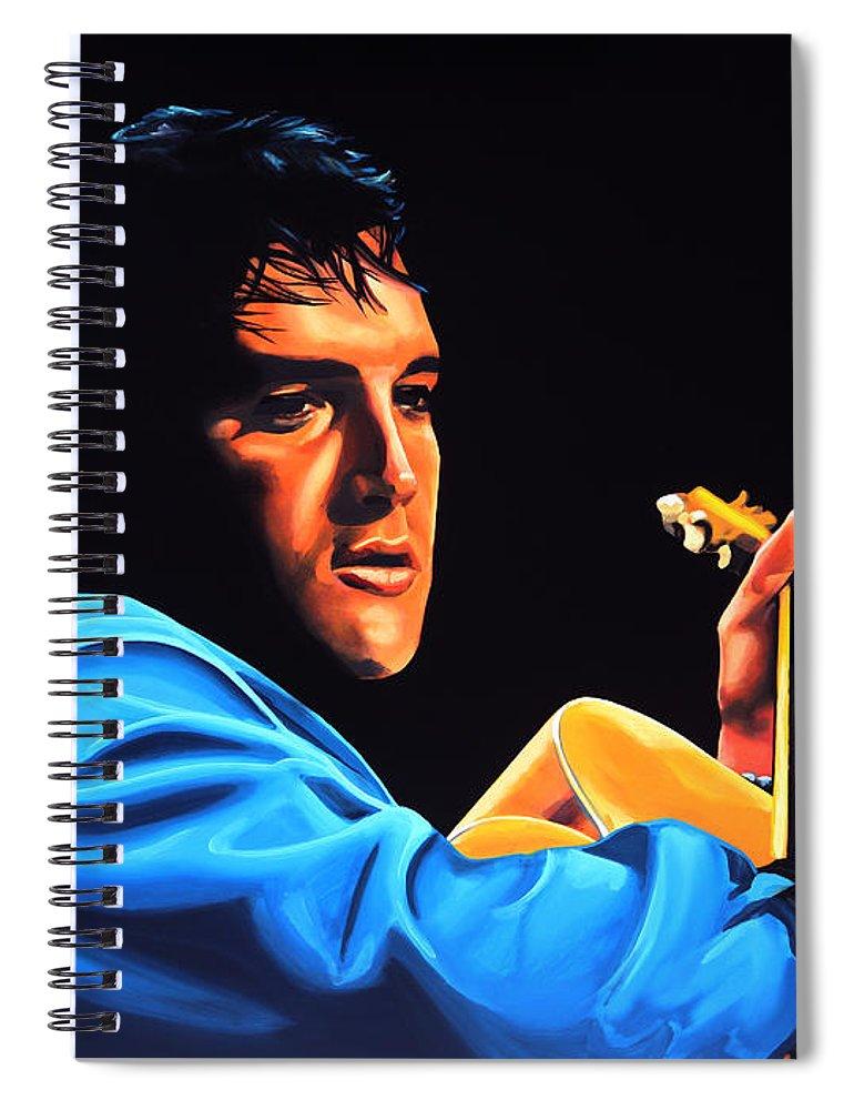 Elvis Spiral Notebook featuring the painting Elvis Presley 2 Painting by Paul Meijering