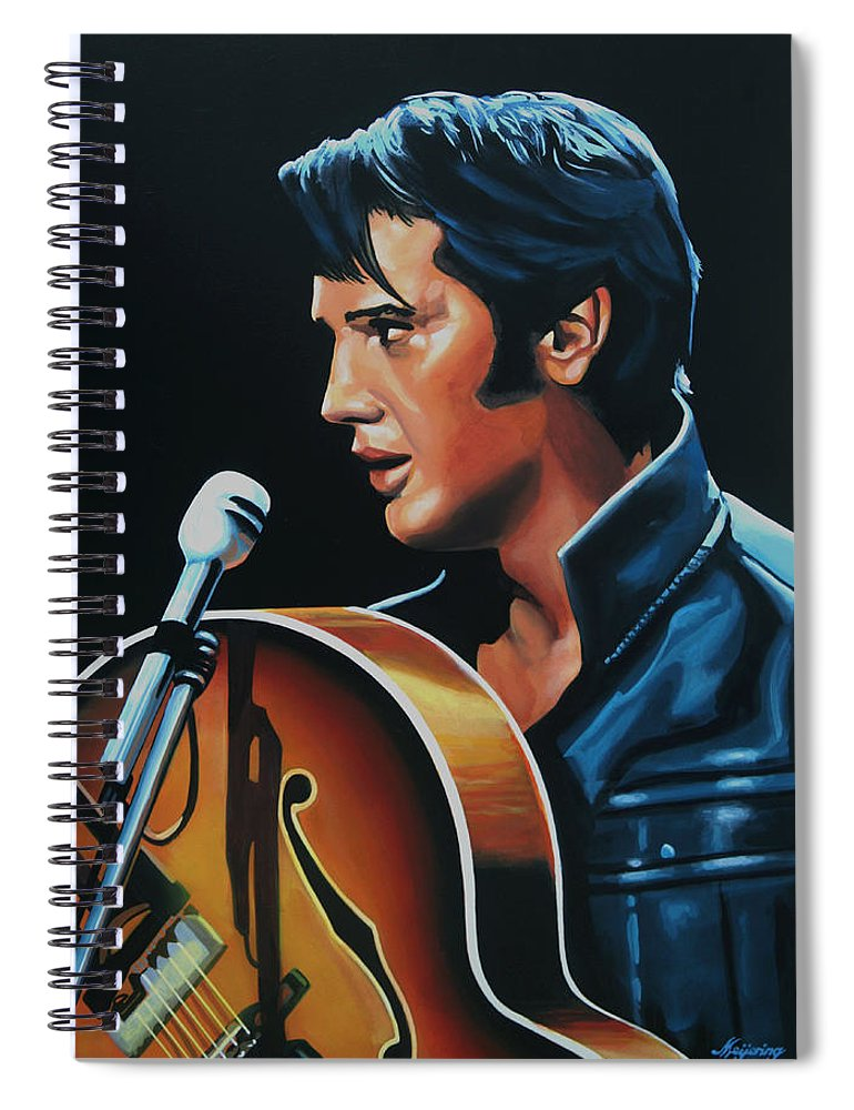 Elvis Spiral Notebook featuring the painting Elvis Presley 3 Painting by Paul Meijering