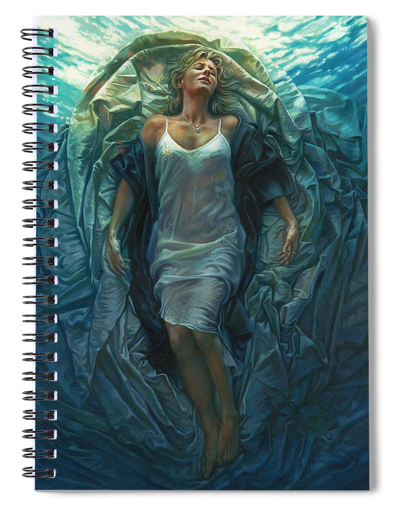 Conceptual Spiral Notebook featuring the painting Emerge Painting by Mia Tavonatti