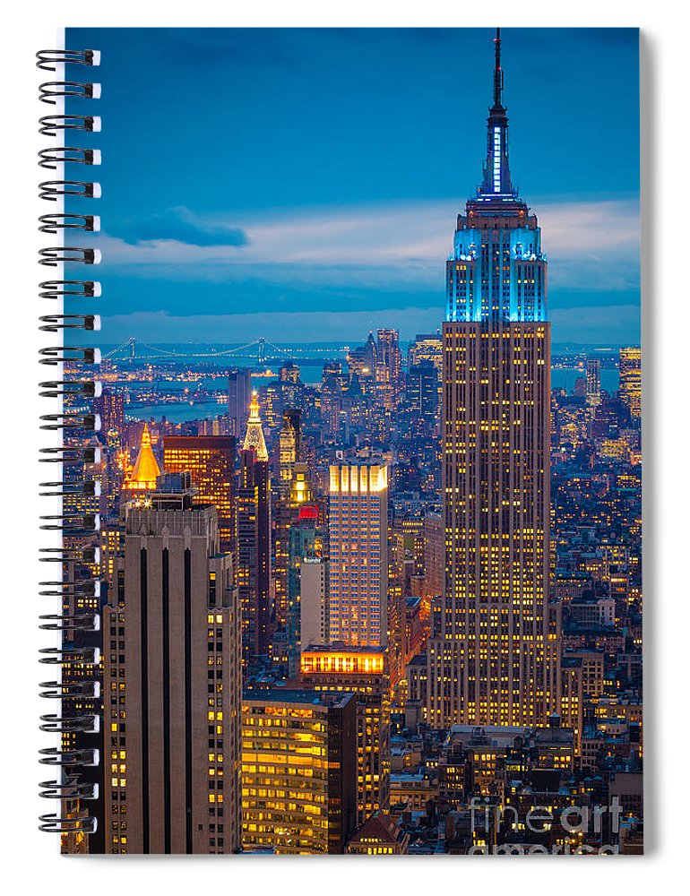 America Spiral Notebook featuring the photograph Empire State Blue Night by Inge Johnsson