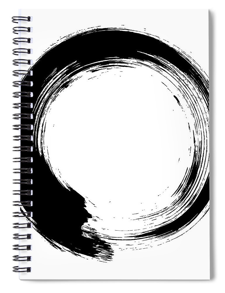 East Spiral Notebook featuring the digital art Enso – Circular Brush Stroke Japanese by Thoth adan