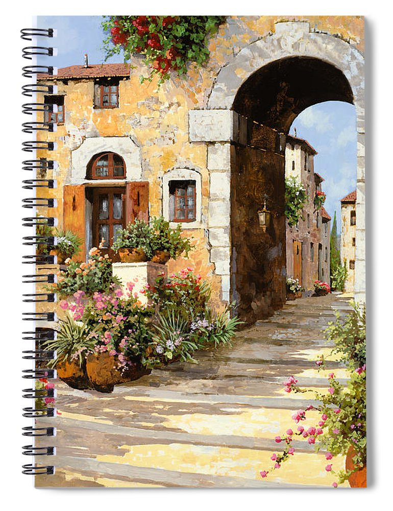 Cityscape Spiral Notebook featuring the painting Entrata Al Borgo by Guido Borelli