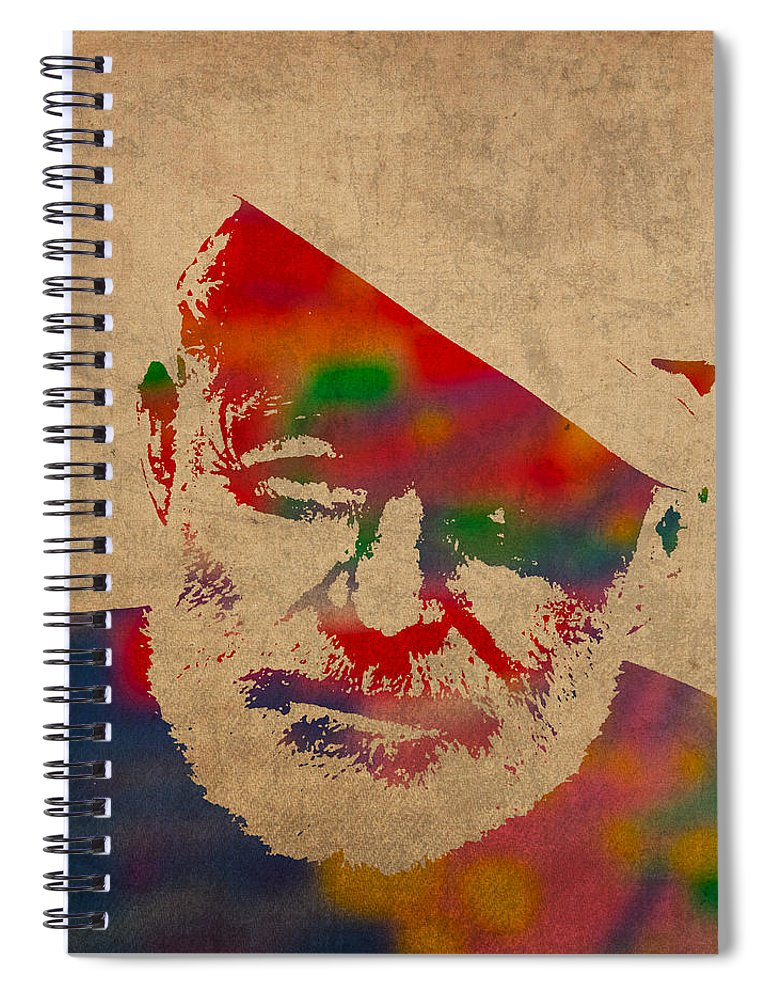 Ernest Hemingway Watercolor Portrait On Worn Distressed Canvas Spiral Notebook featuring the mixed media Ernest Hemingway Watercolor Portrait On Worn Distressed Canvas by Design Turnpike
