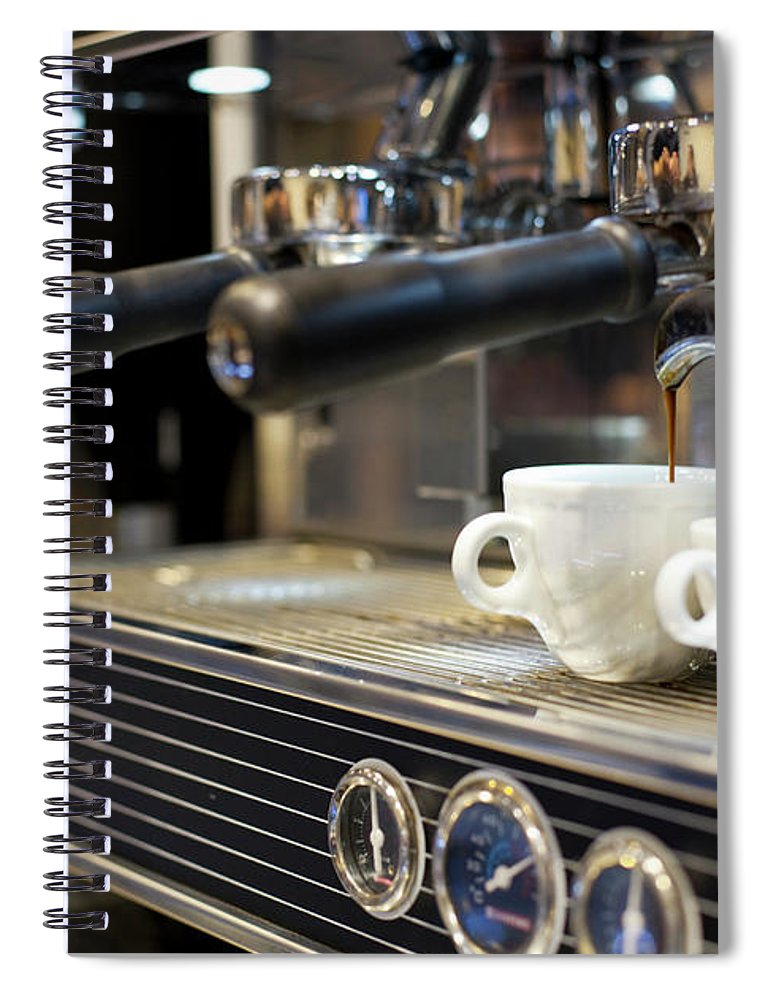 Making Spiral Notebook featuring the photograph Espresso Machine Pouring Coffee Into by Kathrin Ziegler