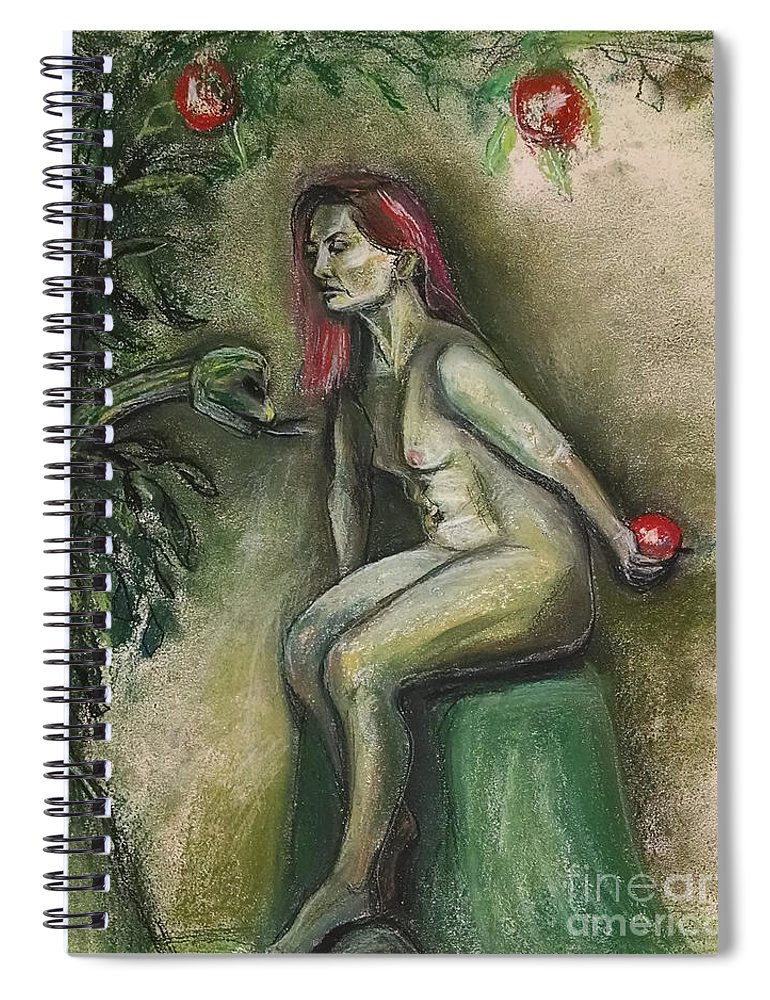 Eve Spiral Notebook featuring the drawing Eve In The Garden by Gabrielle Wilson-Sealy