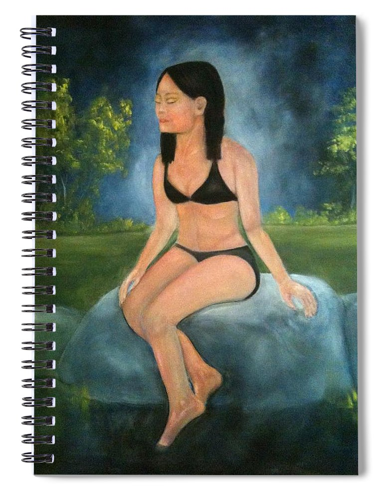 Woman Spiral Notebook featuring the painting Evening Swim by Sheila Mashaw