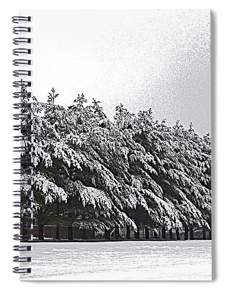 Illinois Spiral Notebook featuring the photograph Evergreens In Snow by Luther Fine Art