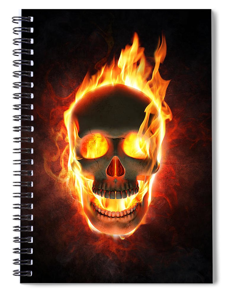 Skull Spiral Notebook featuring the photograph Evil skull in flames and smoke by Johan Swanepoel