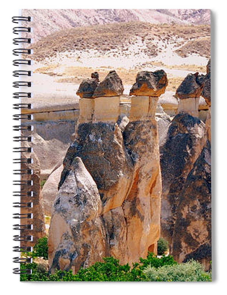 Landscape Spiral Notebook featuring the photograph Fairy Chimney Panorama by Apurva Madia
