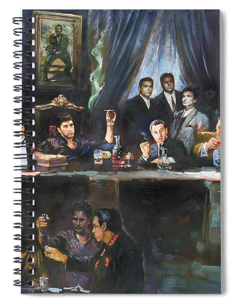Gangsters Spiral Notebook featuring the painting Fallen Last Supper Bad Guys by Ylli Haruni