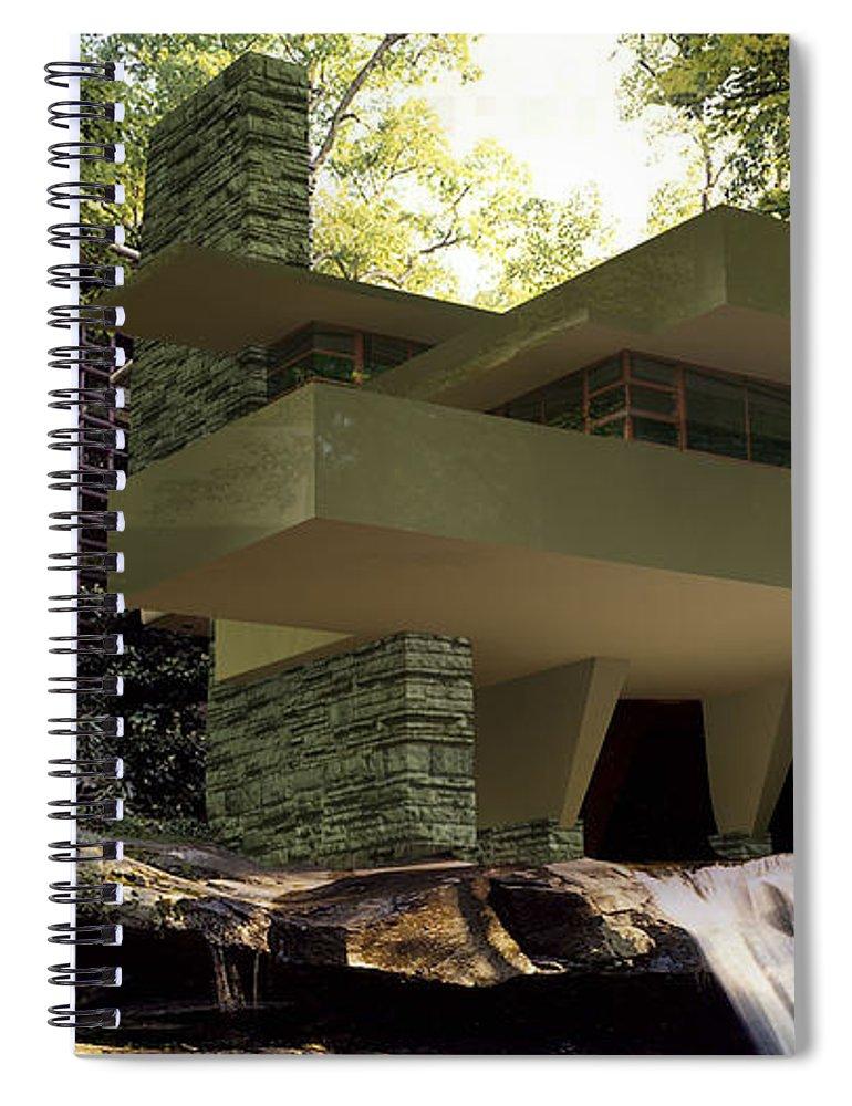 Fallingwater Spiral Notebook featuring the digital art Fallingwaters by Louis Ferreira