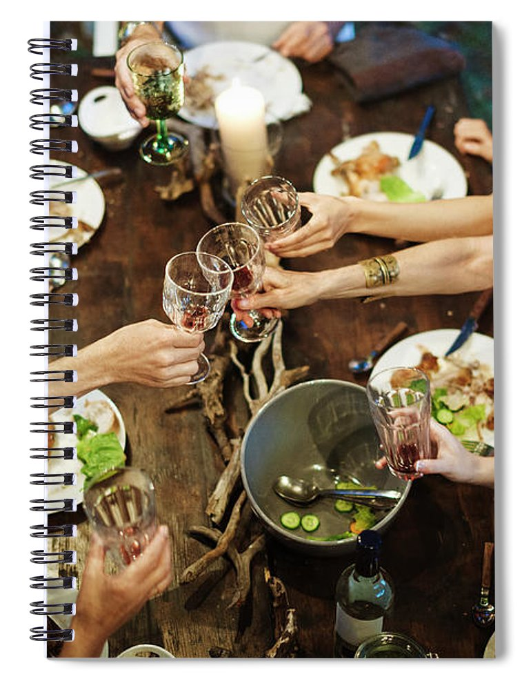 Adult Offspring Spiral Notebook featuring the photograph Family Celebrating Garden Party by Hinterhaus Productions